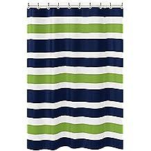 bmall azul marino azul, Cal verde y rayas blancas de baño niños cuarto de baño tela cortina de ducha con anillos