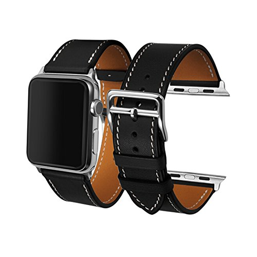 CAILIN for Apple Watch Straps - iWatch Straps 38mm 42mm Genuine Leather Strap iPhone Smart Watch Band for Apple Watch3 2 1, Single Tour (42mm, Black)