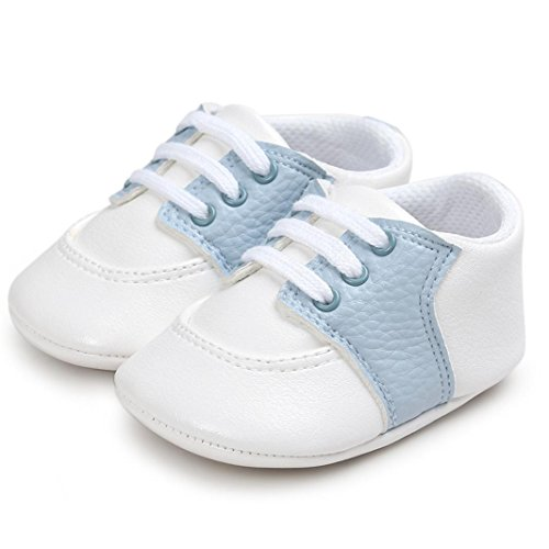 BZLine® PU Cuir Chaussures au lacet - Semelle en Tissu Souple pour Bébés Filles&Graçon 0-18Mois Ciel bleu
