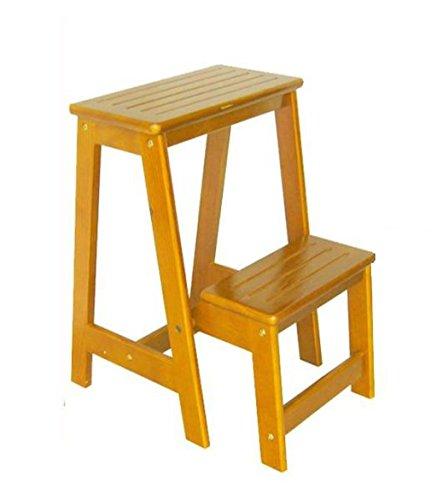 CAIJUN Tabouret d'échelon pliable Échelle de bois massif Multifonctions étape 2 couches, 55 cm de haut Marchepieds escamotables (Couleur : A)