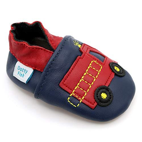 Dotty Fish weiche Leder Babyschuhe mit rutschfesten Wildledersohlen. 2-3 Jahre (25 EU). Marine und rotes Feuerwehrauto Design für Jungen. Kleinkind Schuhe.