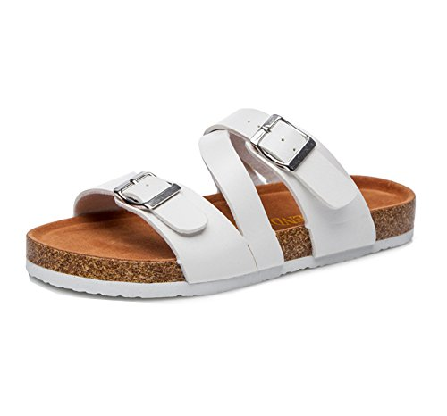 Damen Flach Sandalen Hausschuhe Strand Schuhe Pantoletten Sandalen Slipper Bequemschuh Komfort Sandaletten Weiß