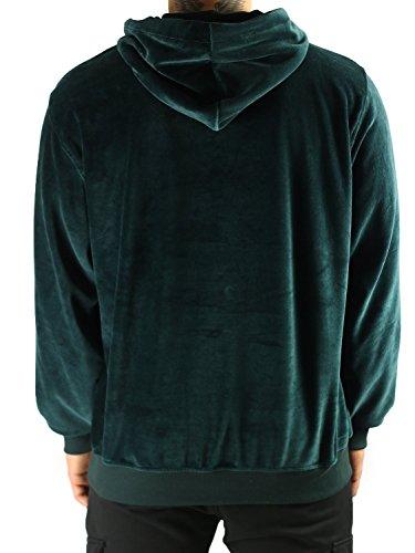 Deadstock Velour Hoodie | Kapuzensweater Pullover Kapuzenjacke Jade-Grün
