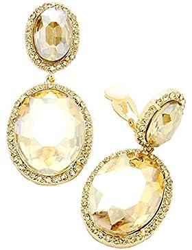 Schmuckanthony Abendschmuck Lange Ohrclips Clips Klips Clip On Ohrringe Kristall Honig Gold 5cm lang