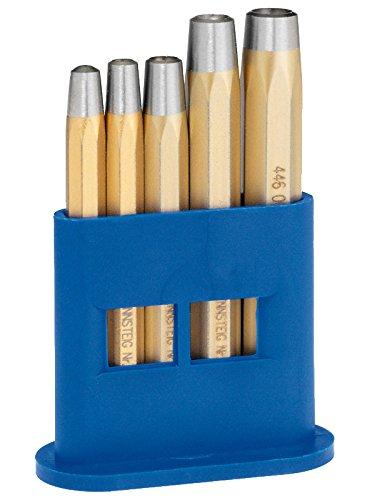 Rennsteig Nietkopfsetzer Satz, 2 - 6 mm, 5-teillig - für Nieten DIN 660, Spezial Stahl, im Kunststoffhalter - 4461000 - Gold-metall-bett-satz