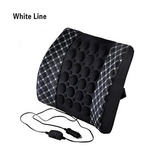 Car Home Dual Vibration Bionic Lendenwirbelsäule Unterstützt Elektrische Massage Maschine Kissen Selbsterhitzung12 V Sitzkissen Rückenkissen MattenWeiße Linie (Rückseite Massage-maschine Für)