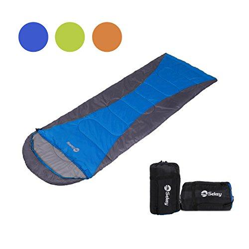 Sekey (190 + 30 - sacco a pelo modulare impermeabile da 75 cm, sacco a pelo estivo con borsa per il trasporto, adatto per campeggio, viaggi, escursioni o interni, sinistra e destra, colore: blu