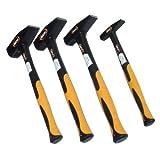 4 Hammer Set 200g 500g 1000g 2000g Schlosserhammer DIN 1041