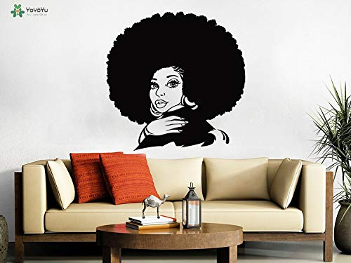 Wandtattoo Vinyl Kunst Removebale Wandaufkleber frican Haar Wand Poster Tribal Afrikanischen Mädchen Salon Wandbildcm 53x53cm -