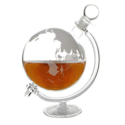 FLOW Barware Whiskykaraffe mit Halterung und Stopper, Vintage-Design, Whisky-Karaffe, perfekt für Rum, Brandy und Likör, Globe Vintage Barware