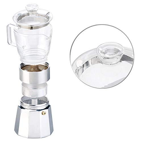 Cucina di Modena Espresso-Kocher: Design-Espressokocher, Kanne aus Borosilikat-Glas, 300 ml, 6 Tassen (Mokka-Espresso-Kännchen)