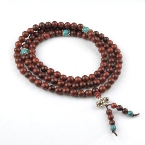 Wadoy Mala-Halskette / Gebetskette, tibetanisch / buddhistisch, Sandelholz, 108Perlen, 8mm