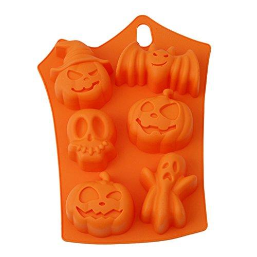 Chinget Halloween Motiv Silikon Schokolade Fondant form Zucker Süßigkeiten Pudding Gelee Eis Würfel Form Kuchen Dekor DIY Backen Werkzeug (Halloween-süßigkeiten Formen)