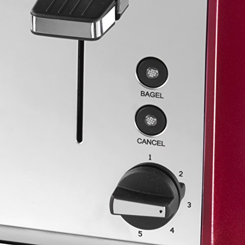 Waring WT400RU 4-Slice Toaster Polished Stainless Steel, Red