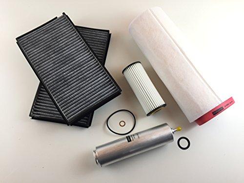 Ölfilter Luftfilter 2 x Aktivkohlefilter Kraftstofffilter 5er E60 E61 520d Diesel 110KW/150PS für 120KW/163PS nur für Motorcode MC M47D20