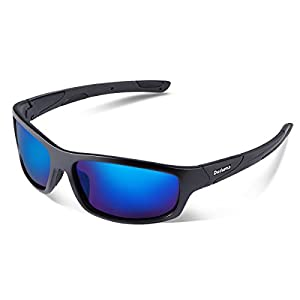 Duduma Gafas de Sol Deportivas Polarizadas Perfectas Para Esquiar Golf Correr Ciclismo con el Marco Irrompible Du645 Para Hombre y Para Mujer (marco mate negro con lente azul)