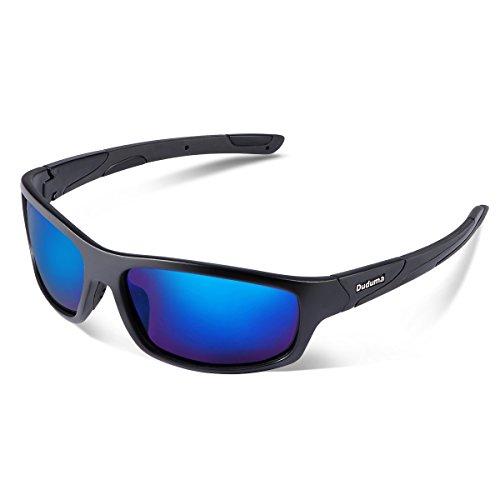 Duduma Polarisierter Sport Sonnenbrille für Baseball Skifahren Golf Laufen Radsport Angeln Reiten Fahren mit Unzerbrechlich Rahmen Du645 (Schwarz Matt Rahmen mit Blau Linse)