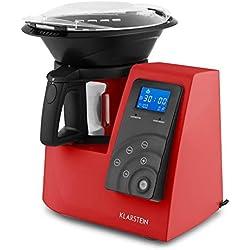 Klarstein Kitchen Hero - appareil de cuisine universel, cuiseur vapeur, moteur 600 W, élément chauffant 1300 W, 9 en 1, fonction turbo, 4 programmes, livre de recettes, écran tactile, rouge