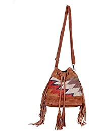 IndiWeaves Women Vintage Handmade Kilim Leather Handle Cross Body Sling Bag - B07658HBLT