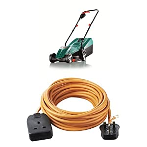Bosch Rotak 32R Electric Rotary Lawnmower with Heavy-Duty Outdoor Power Socket with 10 m Extension Lead
