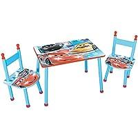 Preisvergleich für Unbekannt Fun House 712512Disney Cars Kindersitzgruppe Tisch mit zwei Stühlen für Kinder MDF blau 60x 40x 44cm