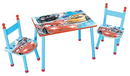 Fun House 712512Disney Cars Set Tavolo con due sedie per bambini in MDF Blu 60x 40x 44cm
