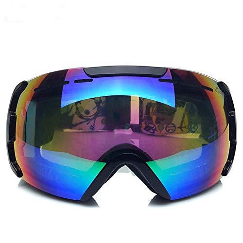 XYQY Skibrille Unisex 'Fit Over Glasses' UV-Schutzbrille Anti-Explosion Dual-Optic Sphärische Skibrille für Erwachsene Snowboard EyewearSchwarz
