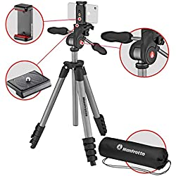 Manfrotto MKSCOMPACTADVBK - Compact Advanced Smart Trépied avec la Rotule 3D et Pince pour Smartphone, iPhone, Samsung, Huawei, LG, Google Phones, Réflex, Hybride, Compact Appareil Photo - Aluminium