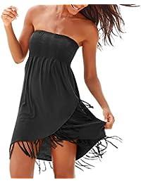 Auifor💕Señoras Atractivas del Tubo de la Tapa del Halter del Vestido de la Playa de la Franja de la Playa de señora Ocasional de Vacaciones Data Vestido de la Falda de la Playa