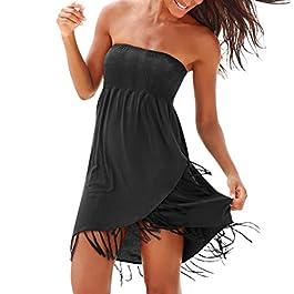 Abiti Donna Estivi feiXIANG Vestito Senza Spalline Sexy della Boemia off Spalla Corto Abito Vestiti da Sera Partito Cocktail