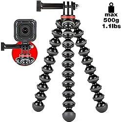JOBY GorillaPod 500 Action - Mini Trépied Polyvalent avec Raccord Pin-joint pour GoPro, 360 et Caméras d'Action, JB01516-BWW