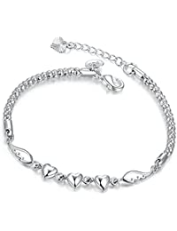 Ladies Bracelet Girls Jewellery with Silver Plated Angel Wings Love Heart Adjustable Chain Bracelets Friendship Gift for Women Teenager