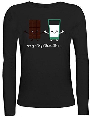 Valentinstag Damen Longsleeve Langarm T-Shirt mit Chocolate + Milk Motiv von ShirtStreet Schwarz