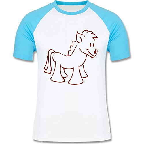 Pferde - Pony - zweifarbiges Baseballshirt für Männer Weiß/Türkis