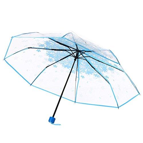 DRESS_start Regenschirm Transparent Kinder KirschblüTen Pilz Apollo Sakura 3 Falten Regenschirm Knirps Regenschirm Regenschirm Sturmsicher (Blau)