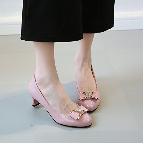 ZHZNVX Die Neue Single Schuhe Herbst Neue Bold mit Einzelnen Schuhe Runden Kopf Bow Tie, Kleine Ledertasche Professional Light - Schuhe, Rosa 37 -