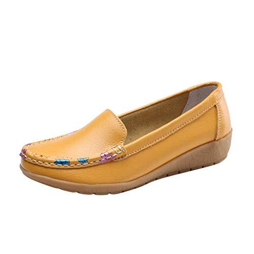 Deloito Damen Lässig Blumenmuster Mokassins Bootsschuhe Mütze Schuhe Flache Schuhe Müßiggänger Loafers Weicher Boden Flache Erbsen Halbschuhe (Gelb,39 EU) -