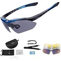 ROCKBROS Gafas de Sol Polarizadas con 5 Lentes Intercambiables para Ciclismo Running Deportes Protección UV 400 Anti Viento para Hombre y Mujer