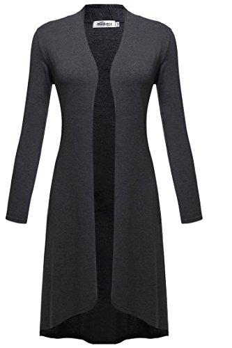 Meaneor Damen Maxi Cardigan Jerseymantel Strickjacke Geometrische Irregular Lose Pullover Mantel Offen Loose Fit Baumwolle , Dunkelgrau - EU 40(Herstellergröße: L)