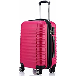 BEIBYE Zwillingsrollen Reisekoffer Koffer Trolleys Hartschale in XL-L-M in 14 Farben (Peach, XL)