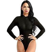 iiniim Femme Body String Sexy Transparent Lingerie Manche Longue Turtleneck  High Cut Zipper Thong Leotard Bikini c8c1bd11210