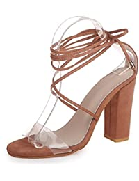 SHINIK Zapatos de mujer PVC Primavera Verano Zapatos transparentes Sandalias Tacón de bloque de tacón grueso Peep...