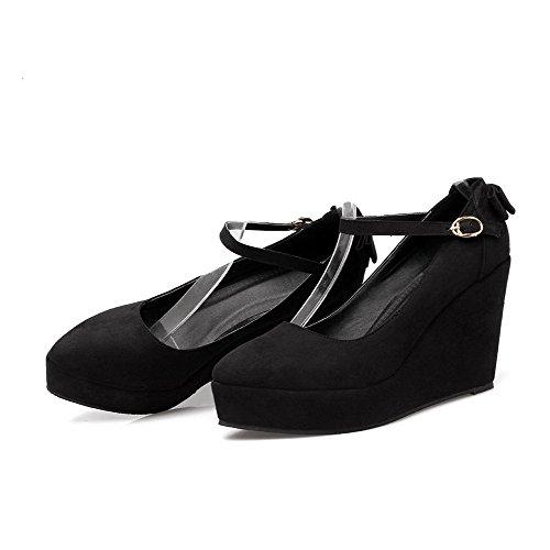 AllhqFashion Femme à Talon Haut Dépolissement Couleur Unie Boucle Pointu Chaussures Légeres Noir
