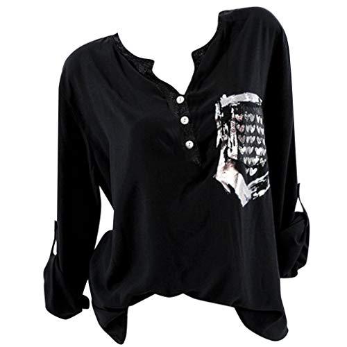 Kviklo Deman Tops Shirt Fashion Einfarbig Half-Button Drucked Pocket Langarm Bluse(3XL(42),Schwarz)