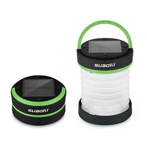 SUAOKI - Mini Linterna Camping LED Solar Ligera, Plegable y Impermeable (Recargable con luz Solar y USB, Acampada, Tienda de campaña) Verde