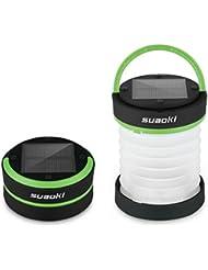 Suaoki - Mini Linterna Camping LED Solar plegable y impermeable (recargable con luz solar y USB, acampada, tienda de campaña) Verde