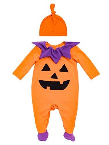 Decstore bambino 2pcs halloween costume zucca pagliaccetto pigiama footed attrezzatura(cap 80cm)