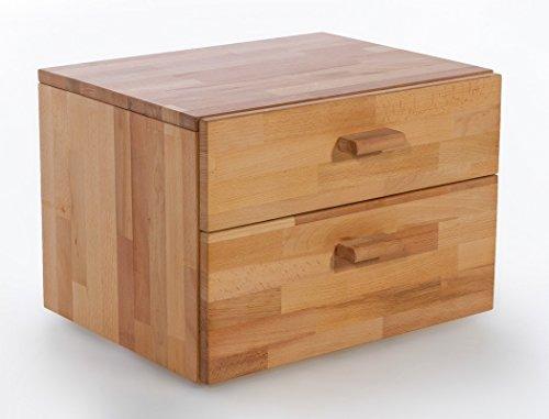 Massivholzbett Caspar + Nachttisch Kernbuche geölt Stauraumbett Holzbett Bett Nachtkonsole Nako Schlafzimmer, Liegefläche:140 x 200 cm;Set-Inhalt:Bett - 3