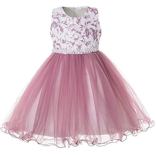 CIELARKO Tüll-Kleid mit Blumenrelief Mädchen, Festliches Prinzessin Kleider Zeremonie Mädchen Ärmellos