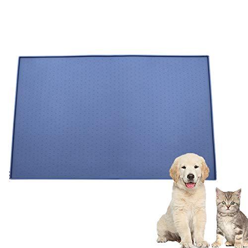 XXDYF Futtermatten für Hunde, Haustier Napfunterlage rutschfest und Wasserdicht Silikon Futtermatten für Hund Katze, Tiernahrung-Matte,Blau